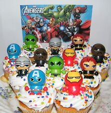 Marvel Avengers Cake Toppers Set of 12 Figures w/ Bouncy Ball Switchable Heads