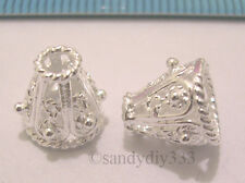 2x STERLING SILVER BRIGHT FLOWER FILIGREE BEAD CAP 8mm  #187