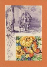 ANTIQUE VINTAGE ARTISTIC NUDE WOMAN CUPID BOW BUTTERFLY ROSES COLLAGE ART PRINT