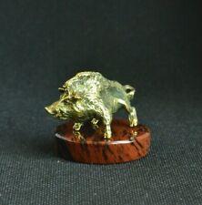 Art Deco Bronze Animals Wild Boar Aper Statuette Figurine Figure, Obsidian Stand