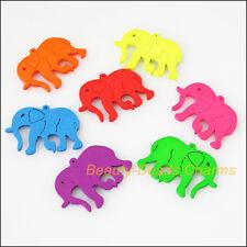 20Pcs Mixed Craft Wooden Animal Elephants Charms Pendants 22x30mm