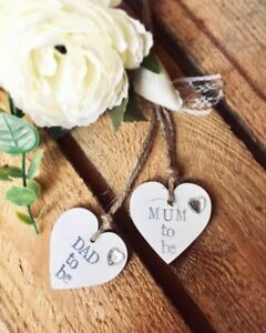 MUM TO BE , DAD TO BE gift tags baby shower party wooden white heart + string