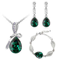 Emerald Green Christmas Jewellery Set Drop Earrings, Bracelet & Necklace S701