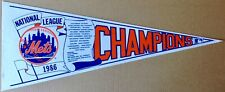 NEW YORK METS 1986 MLB NATIONAL LEAGUE CHAMPIONS FULL SIZE PENNANT TEAM SCROLL