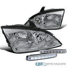 Chrome 05-07 Ford Focus ZX4 Headlights Clear Head Lamp+8-LED Bumper Fog Lamp