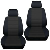 Fits 2012-2019 Kia Sportage  front set car seat covers    black and charcoal