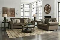 NEW Modern Living Room Furniture - Brown Chenille 2 piece Sofa Couch Set IG3F