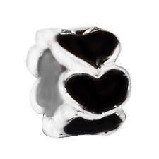 2PC Heart Ring Black Enamel Silver Plated Spacer Charm for European Bracelets