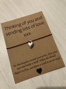 💜 Thinking Of You Love Heart friendship Wish bracelet/anklet Gift Present💜