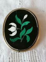 Antique Victorian Pietra Dura White Flower Malachite Inlaid Large Old Pin Brooch