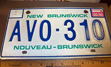 1992 New Brunswick Canada License Plate, AVO-310, fun collectible, very good