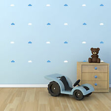 White and Blue Cloud Wall Stickers - Multi Pack of 44 Nursery Decals