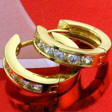 EARRINGS HOOPS HUGGIE REAL 18K YELLOW G/F GOLD DIAMOND SIMULATED DESIGN FS3AN635