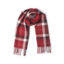 100% Baby Alpaca Red White Black Plaid Stripe Scarf Shawl Checker Fringe Tassel