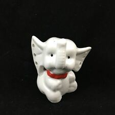 Vintage White Porcelain Elephant Earring Holder Antique Trunk Up for Luck