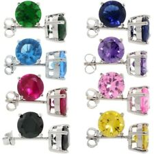 925 Sterling Silver 8 pair set 2 1/2 ctw Color CZ Birthstone Stud Earrings