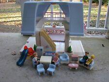 vtg LITTLE TIKES Blue roof dollhouse w dolls furniture slide kitchen living room