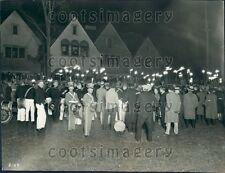 1928 Torchlight Parade to Kohler Village Sheboygan County Wisconsin Press Photo