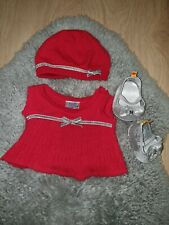 Build A Bear Woollen Outfit Dress Hat with matching shoes