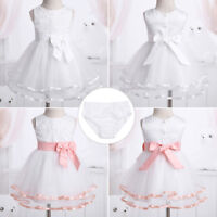 Flower Girl Bow Tutu Dress Toddler Baby Princess Party Wedding Gown + Bloomers