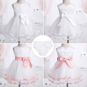 Infant Baby Mesh Christening Princess Flower Girls Dress Wedding Baptism Outfit