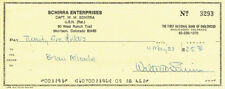 Wally SCHIRRA Signed Autograph Personal Check Cheque FDC AFTAL Apollo Astronaut