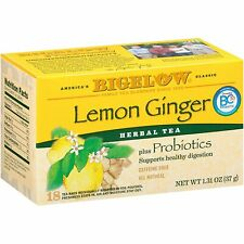 TEA BIGELOW LEMON GINGER Herbal Plus PROBIOTICS (18 bags x 1 box) FREE Shipping