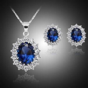 Gadget Set parure collana + orecchini a vite colore blu scuro