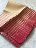 1950s Vintage Handkerchief Silk Blend Hanky Pink Ombré Cream Retro Fabric Old