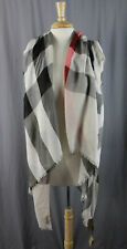 Burberry NWT Women's Beige Black Red Nova Check Cashmere Rectangle Scarf