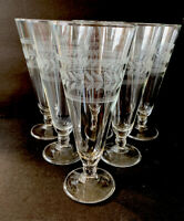 Vintage Etched Glass Footed Tumbler Set of 6 Clear Wheat Pattern