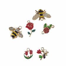 6 pcs Enamel Gold Metal Flower Honeybee Pendants Charms Accessories 53335