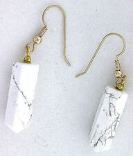 14Kt Yellow Gold Earwire Gold Natural White Howlite Crystal Point Gem Earrings