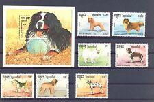 CAMBODIA  YVERT 927/933 + BLOCK  77  **  MNH  VF  DOGS