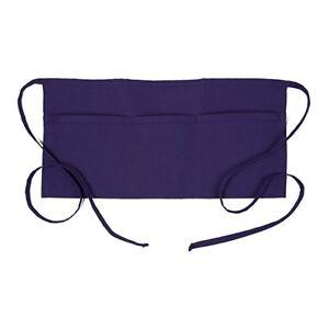 Restaurant Waiter Waitress Barista Half Bib 3-Pocket Waist Apron – Purple