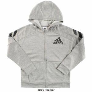 adidas Hooded Melange Boys Jacket | Size X-Large | Grey Heather