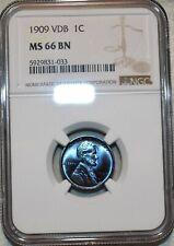 NGC MS-66 BN 1909-P VDB Lincoln Cent, Gorgeous, Sapphire toned specimen!