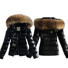AU Women Winter Outwear Black Warm Faux Fur Parka Hooded Leather Jacket Coat Top
