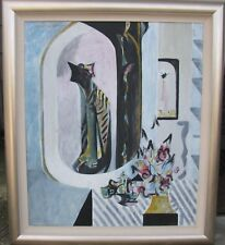 "BERNARD LAWSON AUSTRALIAN LARGE FRAMED OIL ""ABSTRACT WITH CAT"" 1980"