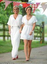 ZARA Off White Chiffon Crossover Maxi Dress with Embroidery M 12 14 BNWT