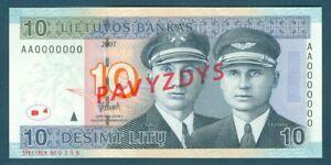 Lithuania Specimen Pick 68s 10 Desimt Litu 2007
