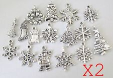 32 tibetan silver Christmas charms tree santa snowflake