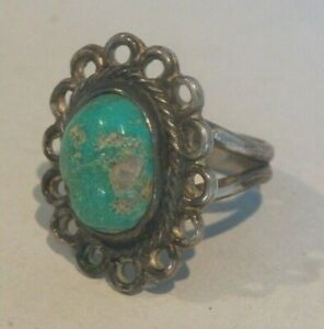 AWESOME FRED HARVEY ERA VINTAGE~NATIVE NAVAJO~STERLING TURQUOISE RING