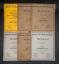 Lot Of 6 Boston & Maine Railroad Employee Time Tables & Rule Booklets 1939-1940