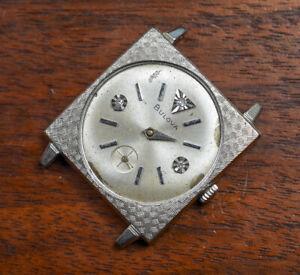 Vintage BULOVA 10k RGP Diamond Dial Wind Up Watch AS IS For Repair