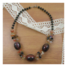 "18"" Agate Natural Stone Necklace Beaded Healing Festival New Age Boho Yoga 210"