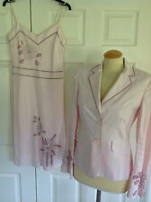 ROCHA JOHN ROCHA stunning baby pink 100% LINEN dress & jacket suit UK 8 - 10