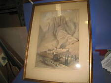 DAVID ROBERTS RA ORIGINAL Convent St. Catherine with Mt. Horeb #HB008 1839 05C3