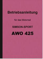AWO 425 Simson Sport Bedienungsanleitung Betriebsanleitung Handbuch Manual