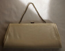 VINTAGE WHITE VINYL CLUTCH HANDBAG WITH GOLD CHAIN HANDLE & GOLD CLASP -  WOW !!